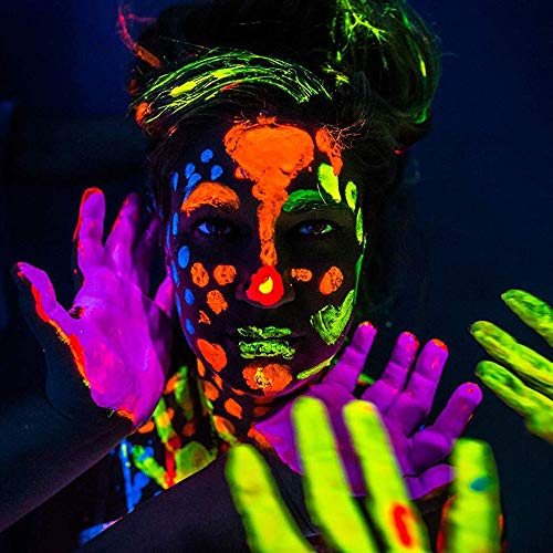 UV Face Paint Kit, Neon Fluorescent Body Painting 8 Bright Colors, Water Based Black Light Make-Up for Kids Adults, Professional Halloween Projects, Glow Parties, Costumes, Theater Special Festivals