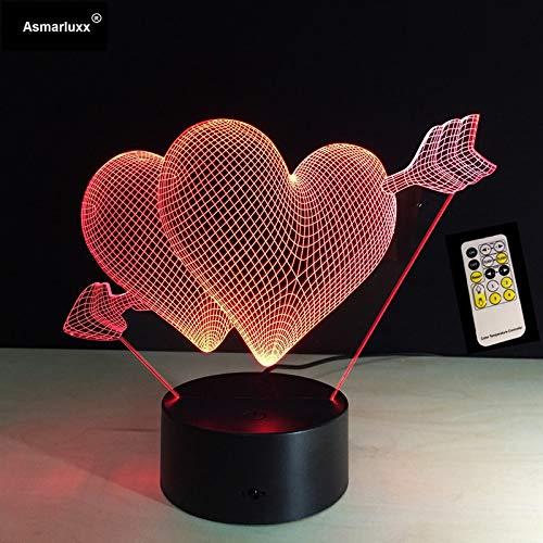 Día de San Valentín Dulce Comercio Amor Flecha Noche de Escritorio Control Remoto o Interruptor táctil Cambio de Color Sala de Estar Luces Decorativas