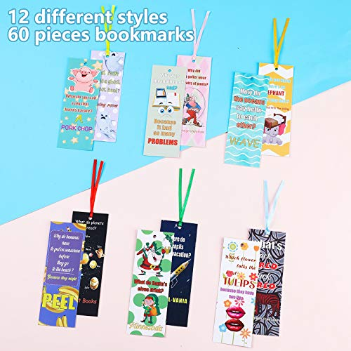 60 Pieces Silly Jokes Bookmarks Cartoon Hilarious Page Markers Funny Reading Bookmarks for Teachers Students Readers Classroom Rewards Supplies,12 Styles Photo #4