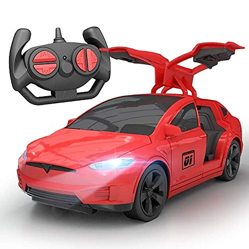 Remote Control Car, Children Remote Control Car RC Vehicle Electronic Children's Wireless Remote Control Racing Sports Race Model Radio Controlled Electric Toy Car Tesla Rechargeable 2.4G Drift Open