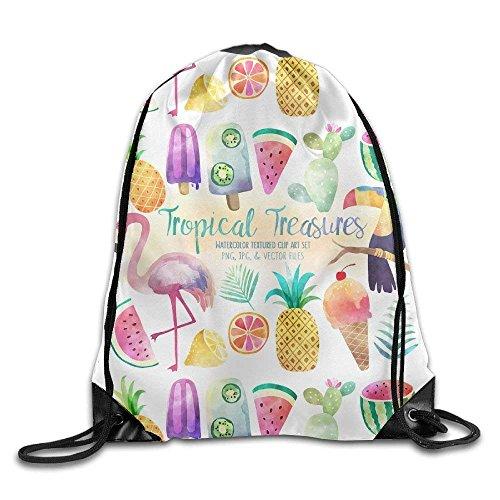 huatongxin Bright Color Summer Flamingos Print Drawstring Backpack Bolsos de Hombro Tipo Mochila Sport Gym Bag for Men and Women