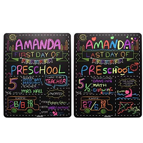 Letrero personalizado para el primer día y último día de la escuela, 13.0 x 15.7in, gran pizarra, estilo foto prop Back to School Supplies – 2 piezas