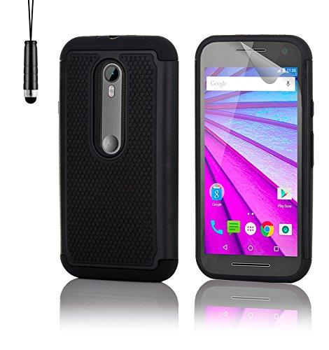 32nd Funda Rígida Anti-Choques de Alta Proteccion para Motorola Moto G 3 (3. Generacion, 2015) Carcasa Defensora de Doble Capa - Negro