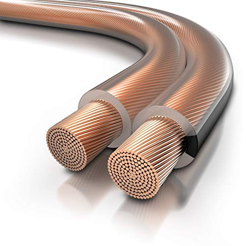 CSL - Lautsprecherkabel OFC - 15m - 2 x 2,5 mm² Boxenkabel - reines Kupfer - Boxenkabel - Speaker Cable – LS Kabel - transparent mit Polaritätskennzeichnung - für Lautsprecher & Surround Systeme