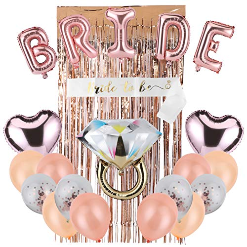 Rehomy Kit de decoraciones de fiesta de espumillón cortina de novia cinta de globos de papel de aluminio juego de cintas de ducha nupcial suministros de decoración