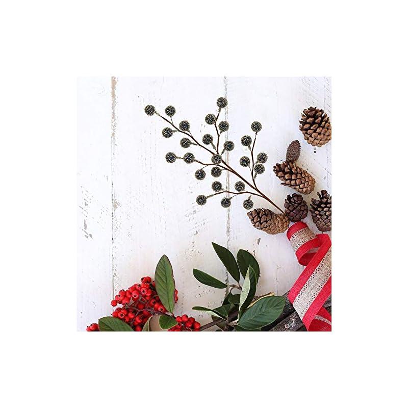 silk flower arrangements larksilk 12 navy holly berry stem picks - decorative wire stem branch sprays for christmas tree decoration, holiday décor, silk flower arrangements, home diy crafts, 35 red berries on each stem