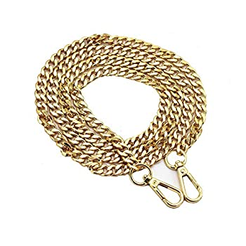 LONG TAO 55  DIY Iron Flat Chain Strap Handbag Chains Accessories Purse Straps Shoulder Cross Body Replacement Straps with Metal Buckles  Gold
