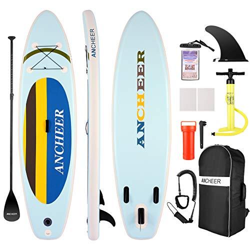 ANCHEER Tabla de Paddle Surf Inflable. Sup Boards Surf Hinchable, Tabla iSUP con Bomba de Doble acción, Remo Ajustable, Mochila Grande