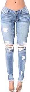 WSPLYSPJY Women's Plus Size Distressed Stretch Ripped Skinny Denim Jeans Pants