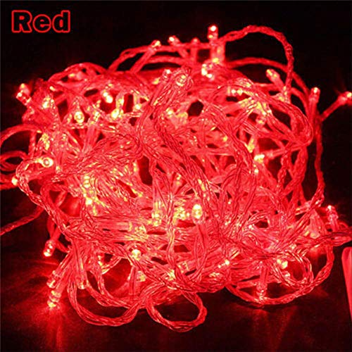 No brand Led String Fairy Light vakantie Patio kerstdecoratie waterdichte buitenlamp slinger 10 m 100 LEDs rood