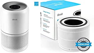 LEVOIT Air Purifier for Home Allergies Pets Hair Smokers in Bedroom, White & Core 300 Air Purifier Replacement Filter, 3-in-1 Pre-Filter, High-Efficiency Activated Carbon Filter, Core 300-RF