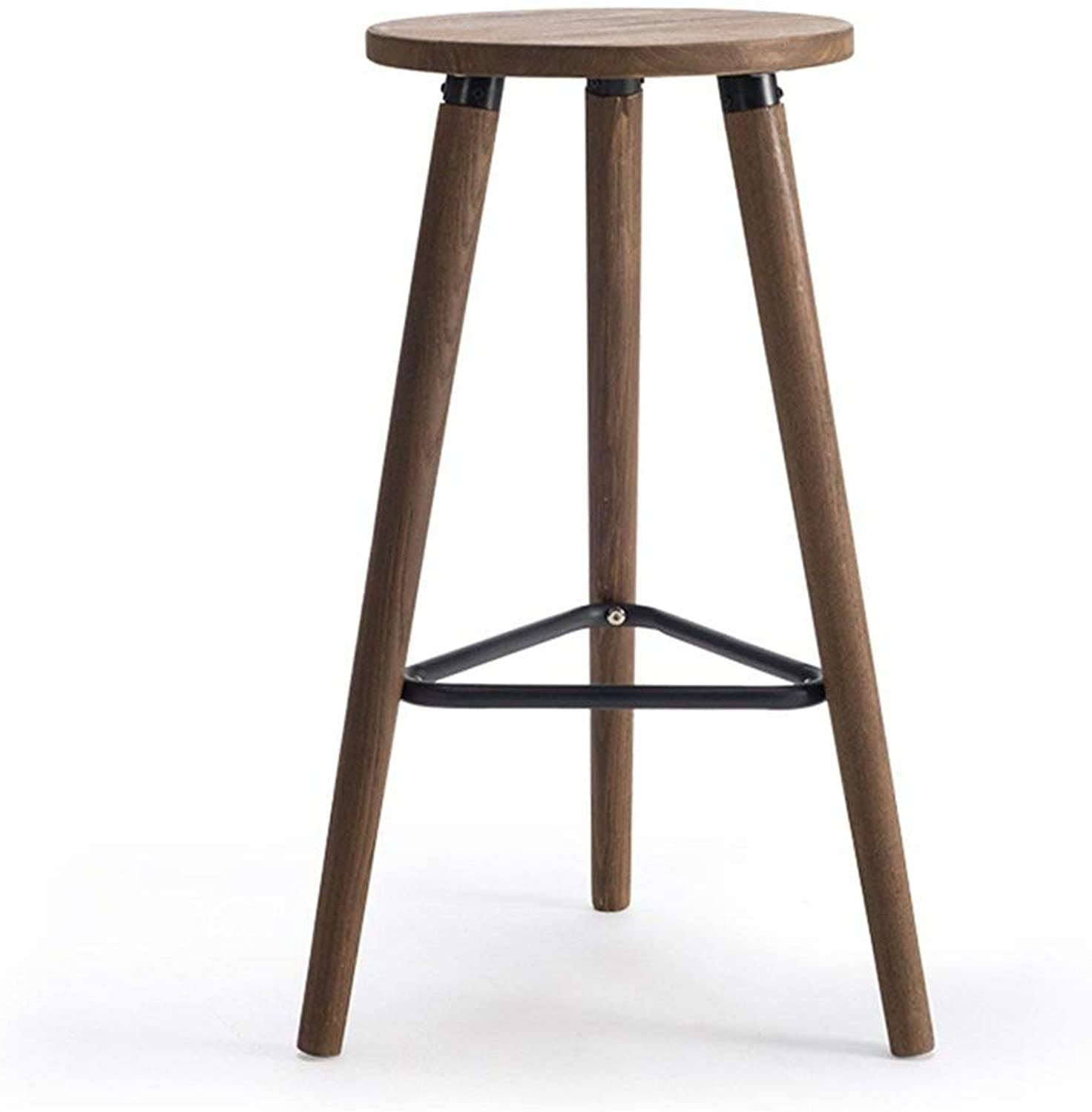 Solid Wood Bar Stools High Stools Bar Chairs Bars Cafes Business Hall Bar Stools FENPING (color   Brown)