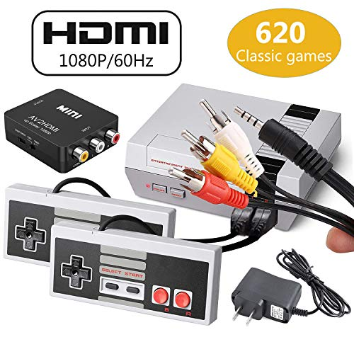 Classic Mini Retro Game Console 1980's Game with Built-in 620 Games and 2 NES Classic Controller,AV and HDMI Output,Children Gift,Birthday Gift Happy Child Memories,For TV and monitor with AV and HDMI