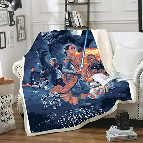 WTTING Star Wars - Manta de franela estampada 3D con impresión reversible y cálida para niños y adultos (I,100 x 140 cm)