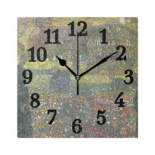 Ahomy Wanduhr groß quadratisch Gustav Klimt Natur Landschaft Ziffern Uhr leise Deko für Home Office Wohnzimmer Schlafzimmer