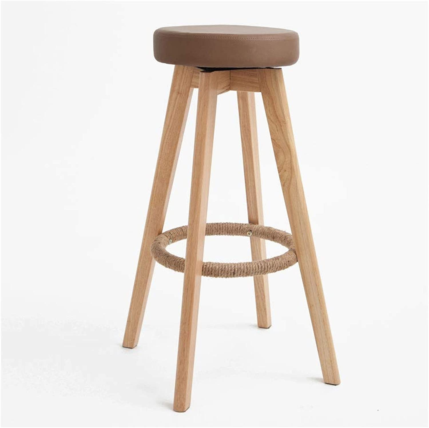Home Simple Bar Stool, Solid Wood High Resilience Sponge Filled Bar Stool, Natural Wood Grain High Chair, 5 colors,PU Leather Easy to Clean-48cm74cm (color   Brown)