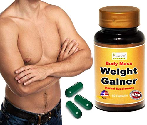 Ayurleaf Weight Gainer - Men's Weight Gain Formula. Mass Gainer Gain Weight Pills for Men - 1, 2, 3 or 4 Bulk Packs - Helps Skinny Men gain Body Mass. Appetite Enhancer for Men ((1) Single Bottle)