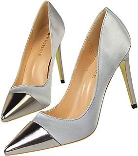 KTYXDE Sexy Stiletto Sandals Slim Sleek Minimalist High-Heeled Light Satin Stitching Pointed Sexy Nightclub 10 cm Women's Shoes (Color : Gray, Size : 36)