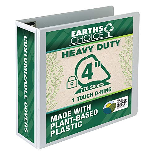 Samsill Earth's Choice Biobased Heavy-Duty 3 Ring View Binder, 4 Inch Locking One Touch D-Ring, USDA Certified Biobased, Eco-Friendly, Customizable Clear View Cover, White, 19897