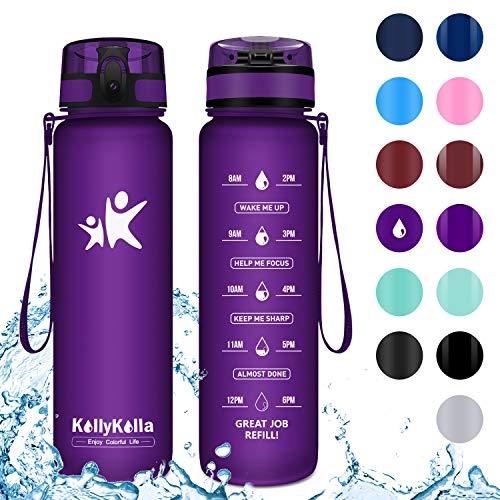 KollyKolla Trinkflasche - BPA-frei Auslaufsicher Sport Wasserflasche, 500ml Tritan Sportflasche Kohlensäure Geeignet Kunststoff mit Filter für Kinder, Schule, Baby, Fahrrad, Gym, Büro, Matte Lila