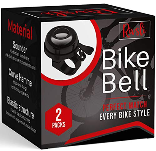 2 Pack Classic Bike Bell, Bicycle Bell   Loud Crisp Clear Sound Bicycle Bike Bell, City Bike, BMX Bike, Sports Bike for Adults Kids, Right Hand/Left Hand Use - Black