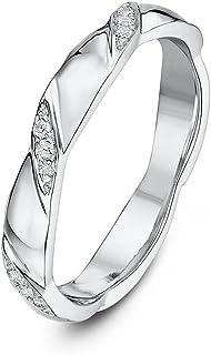 Theia 9 克拉白金 0.06 克拉钻石套装 3 毫米扭曲婚戒