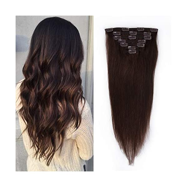 Beauty Shopping 12 inches Clip in Hair Extensions Remy Human Hair – 70g 7pcs 16 Clips Straight