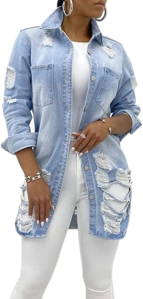 Sexy Ripped Denim Jacket for Women Button Long Sleeve Casual Coat with Pocket,Light Blue,S