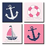 Big Dot of Happiness Ahoy - Nautical Girl - Kids Room, Nursery Decor and Home Decor - 11 x 11 inches Kids Wall Art - Set of 4 Prints