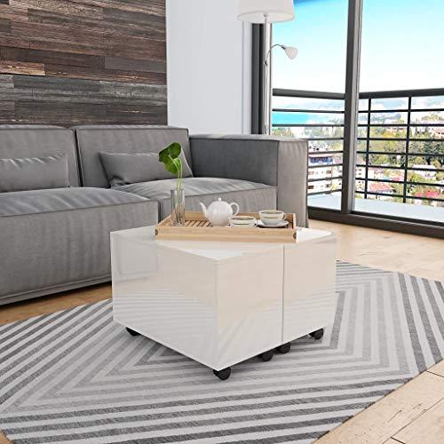Accentbord soffbord högglans vit 60 x 60 x 35 cm spånskiva