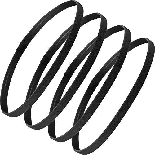4 Pieces Thick Non-Slip Elastic Sport Headbands Hair Headbands for Women and Men (Black)