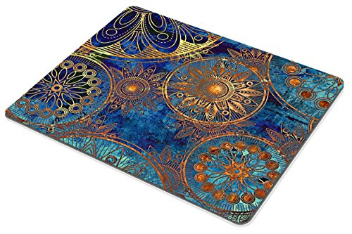 Smooffly Non Slip Mouse Pad for Office, Computer, Laptop & Mac - Durable & Comfortable & Lightweight for Easy Typing-Art Grunge Stylized Damask Pattern with Circles Floral Ornament in Blue Photo #3
