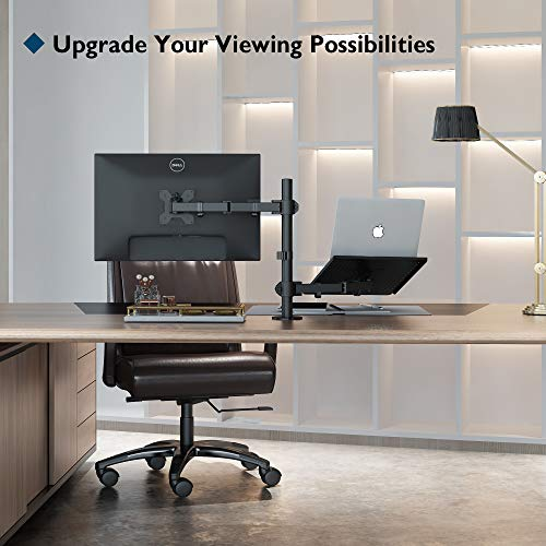 """BONTEC Monitor Halterung mit Laptop Arm für 13-27 Zoll LCD LED Bildschirm bis zu 15,6"""" Notebook, neigbare, drehbare, ergonomische Tischständerhalterung mit Klammer, VESA 75x75-100x100mm"""