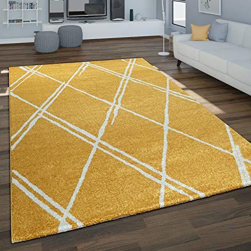 Paco Home Tapis Salon Géométrique Moderne Gris Moutarde, Dimension:120x170 cm, Couleur:Jaune 4