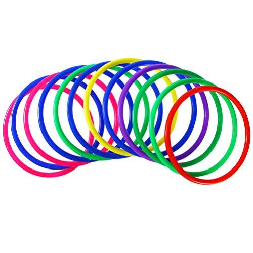 TOYANDONA 20 Stück Ringwurf Spiel Farbige Wurfringe Spielzeug Kunststoff Kreis Ringe für Kinder Erwachsene (Zufällige Farbe)