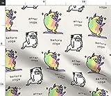 Spoonflower Stoff – Yoga Übung Welpe Hunde Mops lustig
