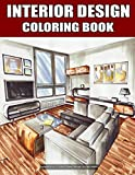 interior design coloring book for adults large print: with inspirational sweet color designs at home, fun room design ideas, and modern decorated ... stress relieving (relaxing coloring book).