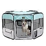Toozey Parque para Perros - Parque para Cachorros para Uso Interior y Exterior, Jaula Perro, cajón para Perros/Gatos - Cremallera y Red extraíbles - Tejido Oxford 600D (Azul)
