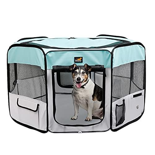 Toozey Parque para Perros - Parque para Cachorros para Uso Interior y Exterior, Jaula Perro, cajón para Perros Gatos - Cremallera y Red extraíbles - Tejido Oxford 600D (Azul)