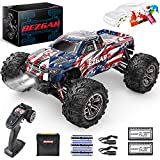 BEZGAR HM163 Hobby Grade 1:16 Scale Remote Control Truck, 4WD High Speed 40+ kmh All Terrains Electric Toy Off Road RC Monster Vehicle Car Crawler with 2 Rechargeable Batteries for Boys and Adults