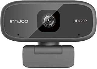 InnJoo 720p HD 30fps Webcam without Driver, Compatible with Windows XP/Vista/7/10, MacOS, Linux and above, Black