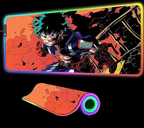 Alfombrilla de Ratón RGB Anime My Hero Academia, Accesorios para Juegos, Led Grande con Retroiluminación, Mesa de Juego XXL, Alfombrilla para Pc, 700X300X4 mm
