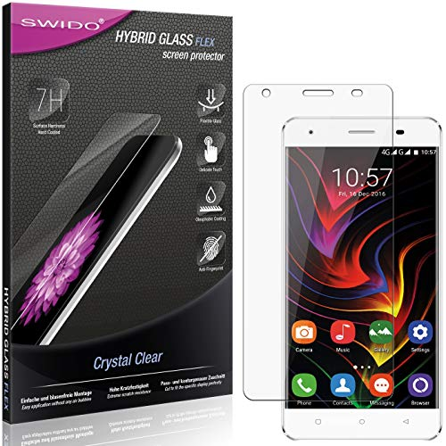 SWIDO Panzerglas Schutzfolie kompatibel mit Oukitel C5 Pro Bildschirmschutz-Folie & Glas = biegsames HYBRIDGLAS, splitterfrei, Anti-Fingerprint KLAR - HD-Clear