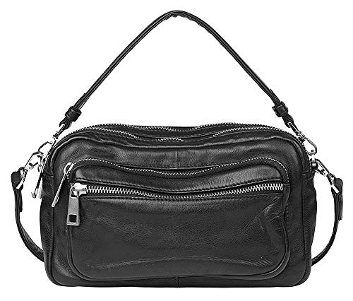 Becksöndergaard Damen Handtasche Veg Molly Bag Black Umhängetasche aus 100% Leder vegan gefärbt Schwarze Clutch mit Reißverschlüssen - 22,5 x 13,5 cm - 1907264002-010