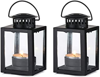 Nuptio Lanterns for Candles Garden Lanterns, 2 Pcs Vintage Style Hanging Small Lanterns for Tealight Candle, Black Candle ...