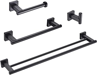 Hoooh Matte Black 4-Piece Bathroom Accessories Set Stainless Steel Wall Mount - Includes Double Towel Bar, Hand Towel Rack, Toilet Paper Holder, Robe Hooks, BS101S4-BK