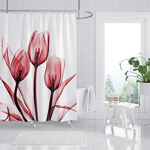 MundW DasDesign Duschvorhang rosé Tulpen Blumen Pflanzen Badezimmer Textil Vorhang Antischimmel Effekt Blätter waschbar Shower Curtain badewanne inkl. 12 C-Ringe Gewicht unten 180 x 200 cm
