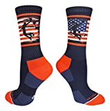 MadSportsStuff Crew Length USA Basketball Socks with American Flag and Player (Navy/Red/White, Large)
