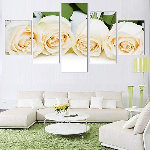 WLYUE-Imagen 50X25cm/19.7'x9.9',5 Piezas de decoración de Cuadros de Pared Moderna Pintura de Pared Flores de Rosas Pintura Decorativa para el hogar sobre Lienzo Impresiones