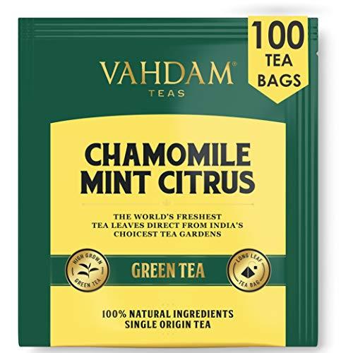 VAHDAM, Kamille Minze Zitrus Grüner Tee, 100 Count | Koffeinfreier & Schlafenszeit Tee | 100% natürliche Detox Kamille Teebeutel für die Nacht | Grüner Tee Beutel | Kamillentee | pfefferminztee
